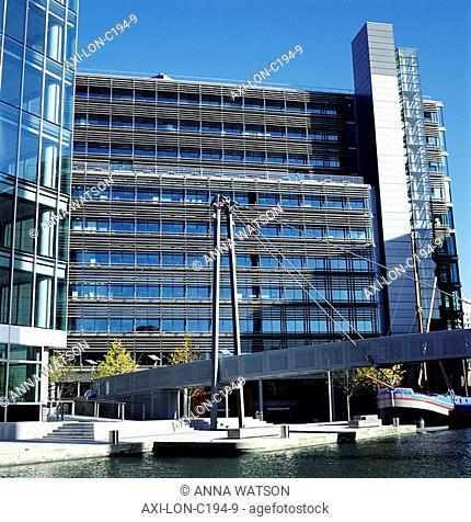 Office buildings and footbridge