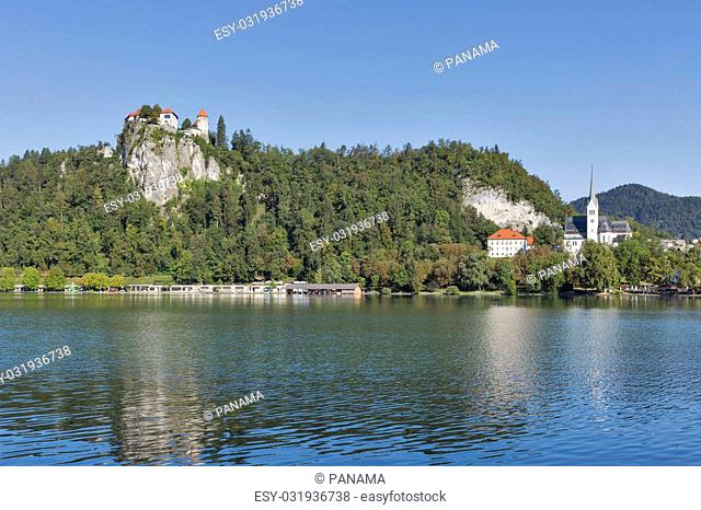 Medieval castle and St. Martins Parish Church overlooking the Bled Lake in Slovenia. One of the picturesque sites of the nation