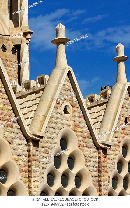 Barcelona (Spain). Detail of the bronze door of the Passion facade of the Sagrada Familia in Barcelona
