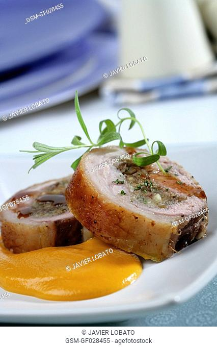 Roast lamb loin with dates and sweet potato purée
