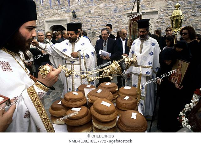 Group of people in a religious ceremony, Crete, Greece