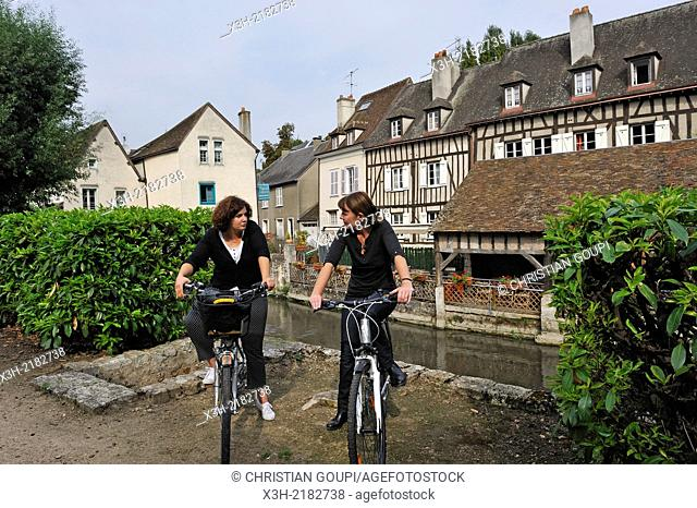 young women cycling on the Eure River bank, Chartres, Eure & Loir department, region Centre, France, Europe
