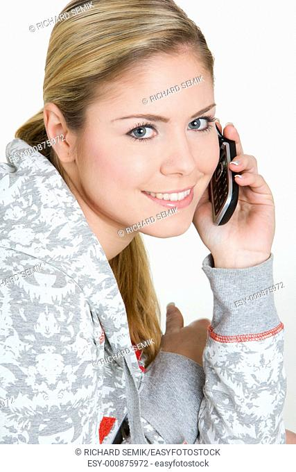 portrait of calling woman