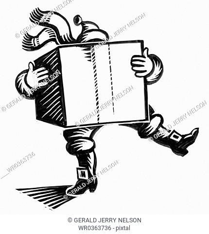 Santa Claus holding large box