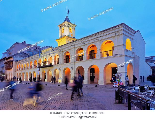 Argentina, Salta, Twilight view of the Colonial Town Hall, now Historical Museum