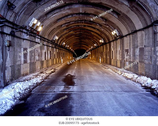 North end of Aragonouet. Bielsa road tunnel to Spain from France. It is 3070 metres long 6 Metres wide 4.3 metres high. Altitude France 1821 metres Spain 166...