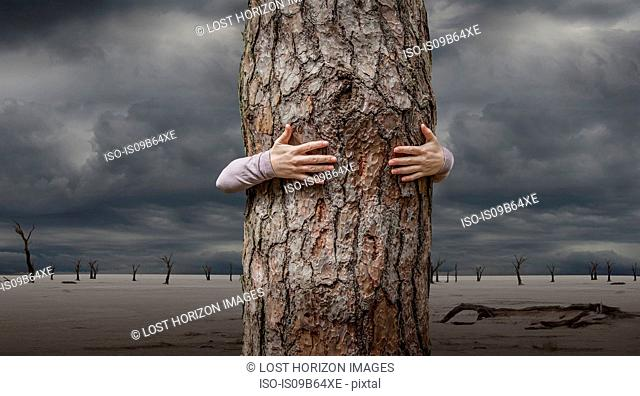 Woman hugging tree, Abbabis, Hardap, Namibia, Africa