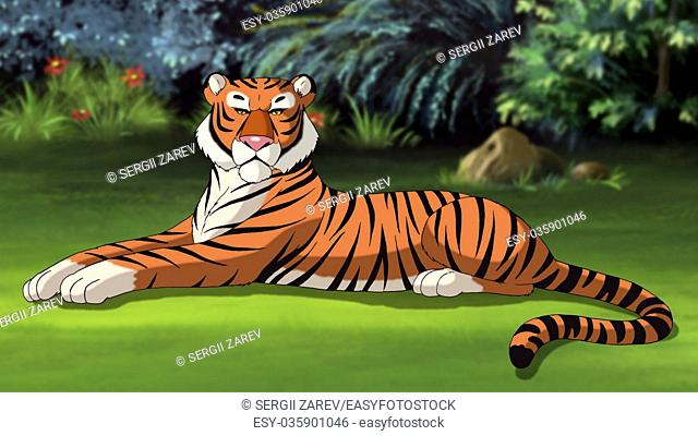 Digital painting of the Bengal tiger lying on a meadow