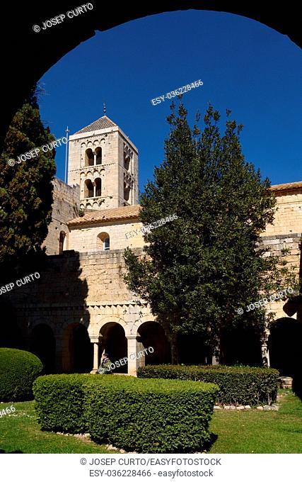 Romanesque monastery of Santa Maria de Vilabertran, (from cloister) Alt Emporda, Girona province, Spain