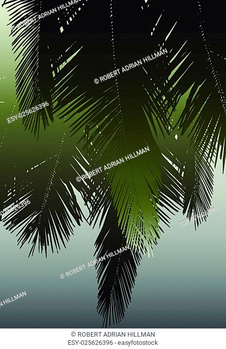 Vector design of hanging coconut palm fronds