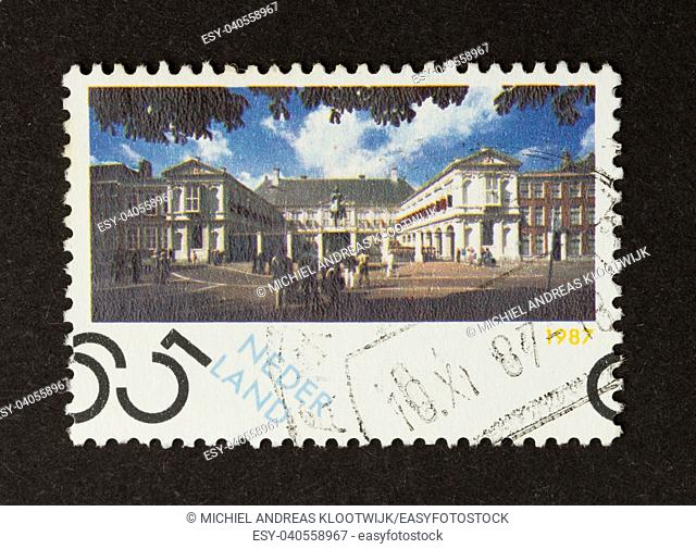 HOLLAND - CIRCA 1980: Stamp printed in the Netherlands shows an old national building, circa 1980
