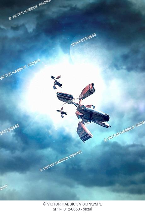 Spacecraft in the clouds, illustration