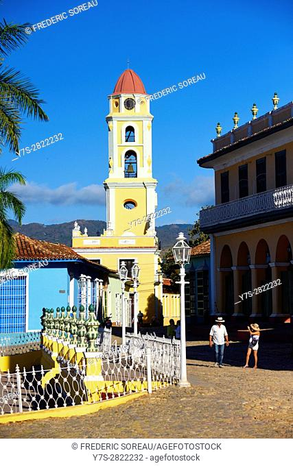 Beautiful colonial church with belltower in Trinidad,Cuba