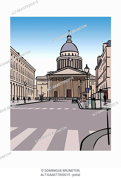 Illustration of the Pantheon in Paris, France