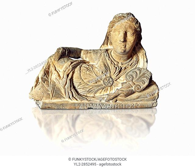 Etruscan sculpted Hellenistic style cinerary, funreary, urn cover with a women , National Archaeological Museum Florence, Italy, white background