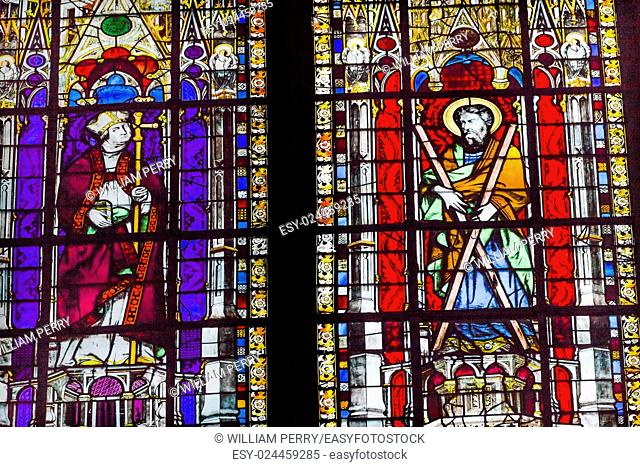 Bishop Saint Stained Glass Saint Severin Church Paris France. Saint Severin one of oldest churches Paris located in the Latin Quarter