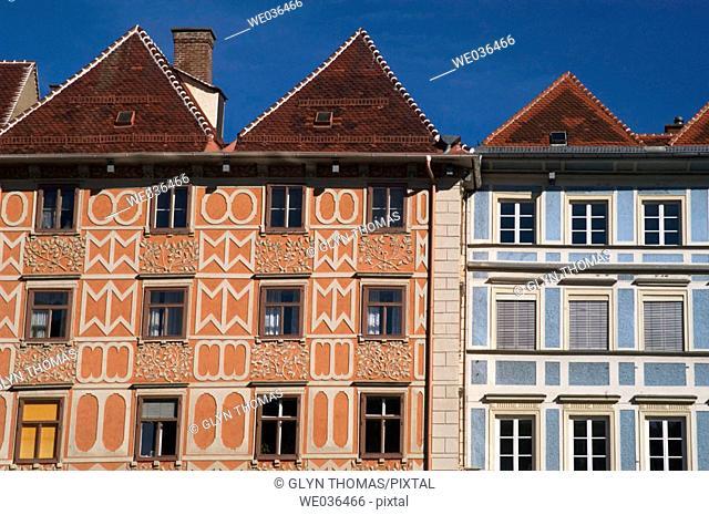 Buildings on the Hauptplatz Graz Austria