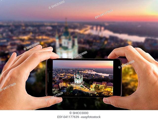 St. Andrew's Church (Kiev) Ukraine. Cityscape from a height. City panorama of Kiev. Andreevsky spusk city Kyiv