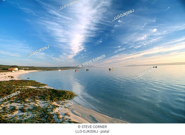 Scenic view of Churchaven beach and Langebaan Lagoon. West Coast, Western Cape Province, South Africa