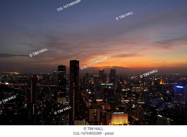 business district of Bangkok at sunset