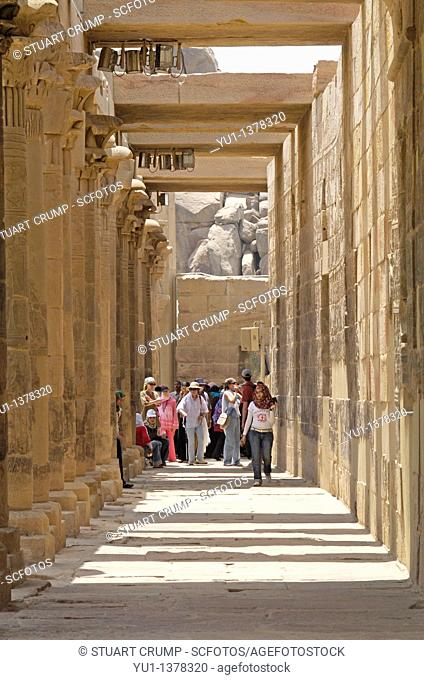 A corridor of columns at Philae Temple, Aswan, Egypt, North Africa
