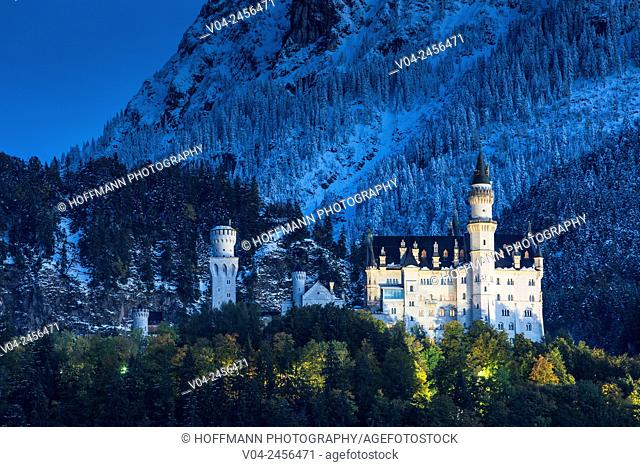 Famous Neuschwanstein Castle (New Swanstone Castle) at night in winter, Hohenschwangau, Bavaria, Germany, Europe