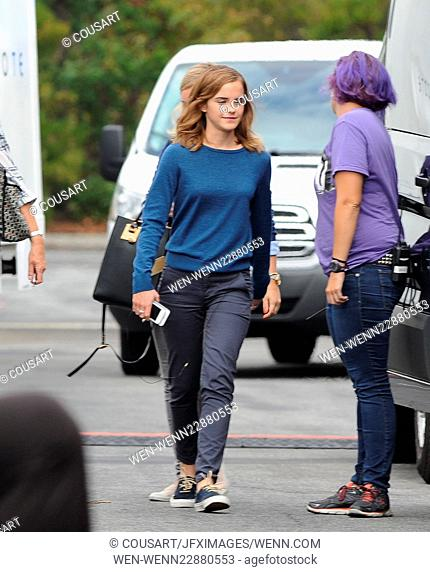 "Actress Emma Watson spotted carrying a box of pastries after a long day on the set of her new movie """"The Circle"""" filming in Azusa Ca"