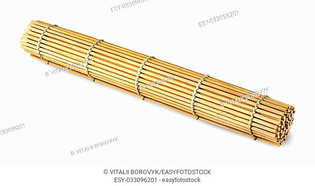 Rolled bamboo sushi mat isolated on white background