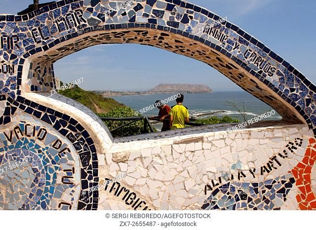 Parque del Amor, Miraflores, Lima, Peru. Tiled curved wall (ceramic and mosaic) in El Parque del Amor (Love Park) overlooking ocean, Miraflores Lima, Peru