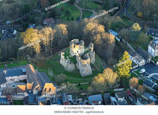 France, Eure, Conches en Ouche, fortress, donjon dated 11th century (aerial view)