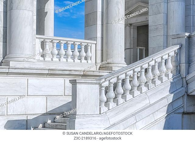 A side view to the architectural details of the Memorial Amphitheater at Arlington National Cemetery in Virginia