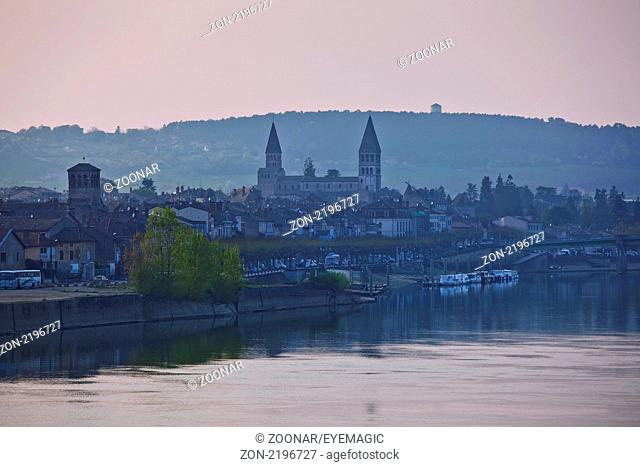 view of Tournus, the edge of the Saone and the ancient abbey, Burgundy, France