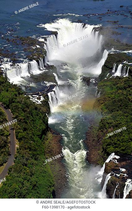 Aerial view of Iguassu Falls and rainbow, Iguassu river, border between Brazil and Argentina