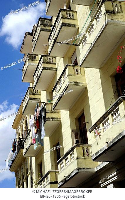 Balconies in the historic district of Havana, Habana Vieja, Cuba, Greater Antilles, Caribbean, Central America, America