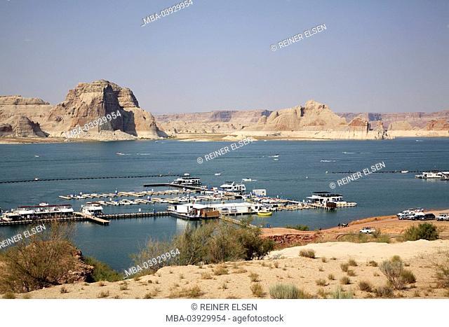 usa, Arizona, Glen Canyon, Lake Powell, harbor, boats