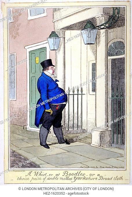 'A whist-er at Boodles - or a choice peice [sic] of double milled Yorkshire broad cloth', 1820. A very obese man in profile is about to step into Boodle's club