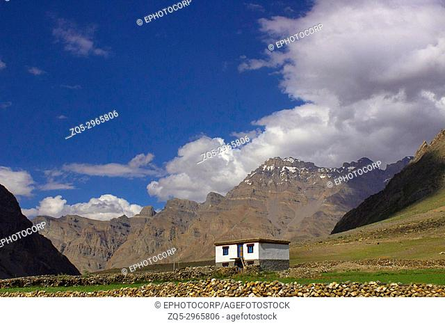 A traditional house In the mountains. Himachal Pradesh, Northern India