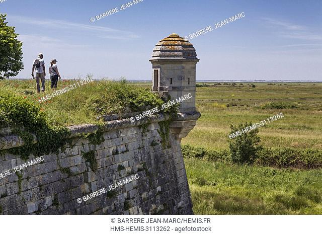 France, Charente Maritime, Hiers Brouage, Citadel of Brouage, walls and turrets