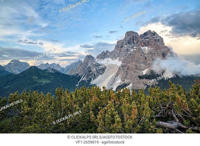 Europe, Italy, Veneto, Belluno. Pelmo mount seen from the summit of Crot, near passo Staulanza, Dolomites
