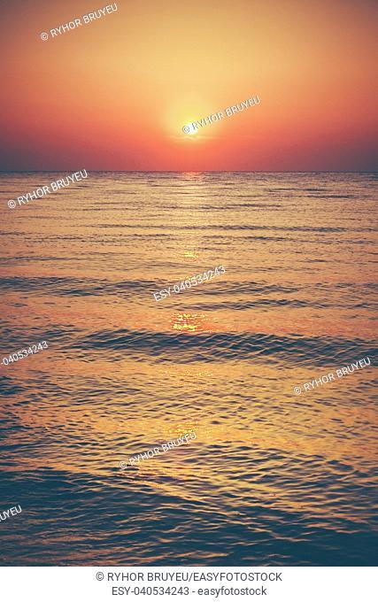Soft Sea Ocean Waves Wash Over Golden Sand Background. Sunset, Sunrise, Sun. Toned Instant Photo