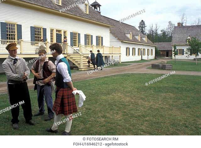 Thunder Bay, Canada, Ontario, Men dressed in authentic costumes celebrate Scottish Days outside the Great Hall at Old Fort William, Fur Trading Post