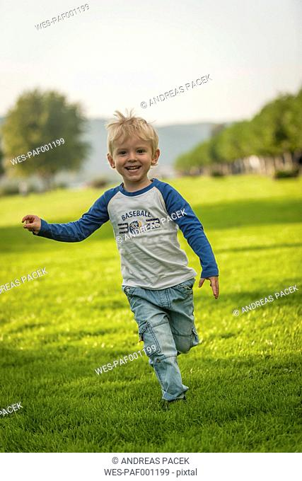 Happy boy running on meadow