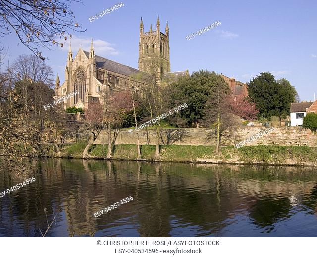 England, Worcestershire, Worcester, River Severn, Cathedral, spring afternoon sun shine