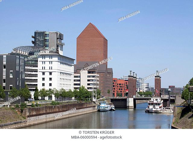 outer harbour and inner harbour of Duisburg, Duisburg, Ruhr area, North Rhine-Westphalia, Germany, Europe