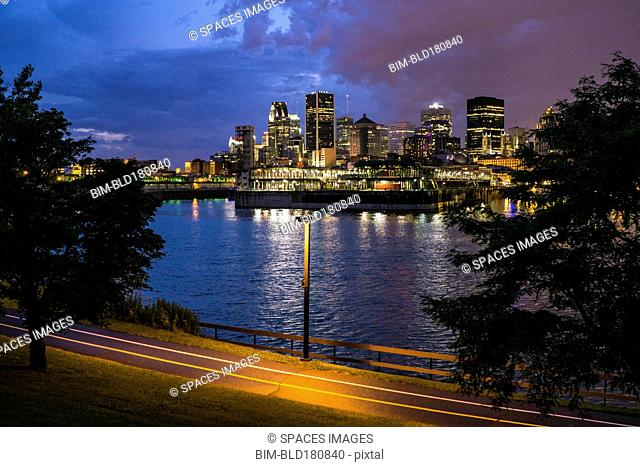 High rise buildings on Montreal waterfront, Quebec, Canada