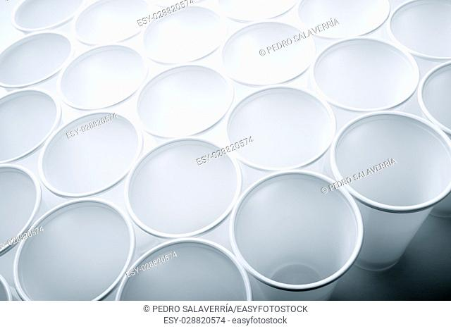 Large group of disposable plastic cups
