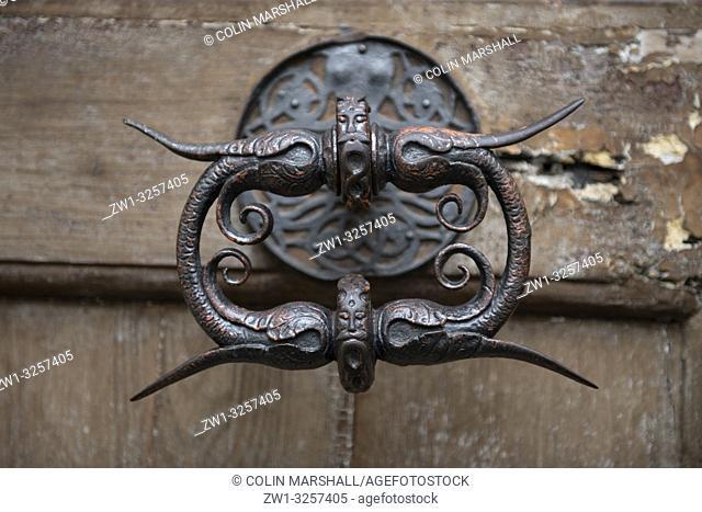 Doorknob on wooden door, Church of Our Lady Catena, Prague, Czech Republic