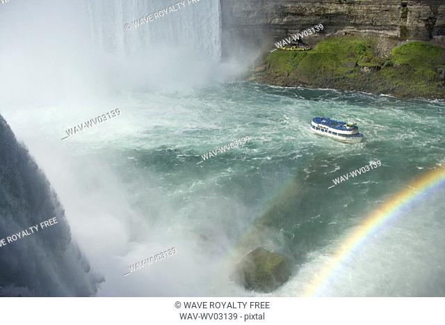 View of Horseshoe Falls, the Maid of the Mist , and Journey Behind the Falls Viewpoint photographed from the American side of Horseshoe Falls at Terrapin Point...