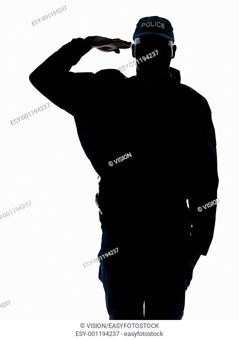 Silhouette policeman saluting in studio on white isolated background