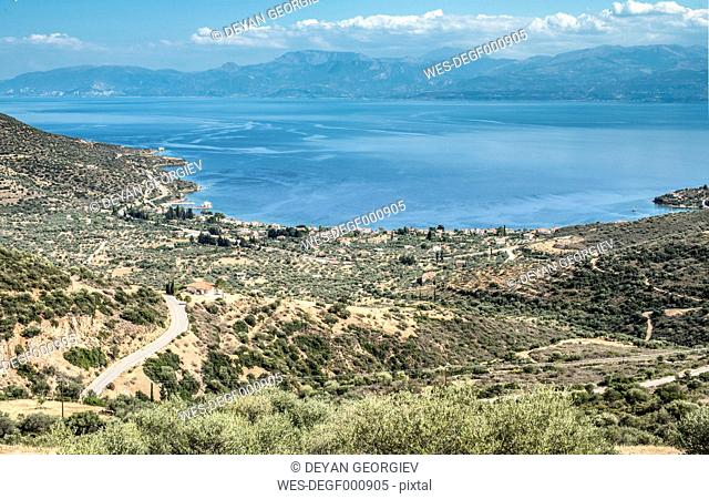 Greece, Panormos, road, olive plantations and the sea